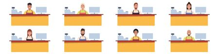 A set of cashiers / shop assistants or cafe / diner workers. Working staff. Flat style. Vector illustration. Vettoriali