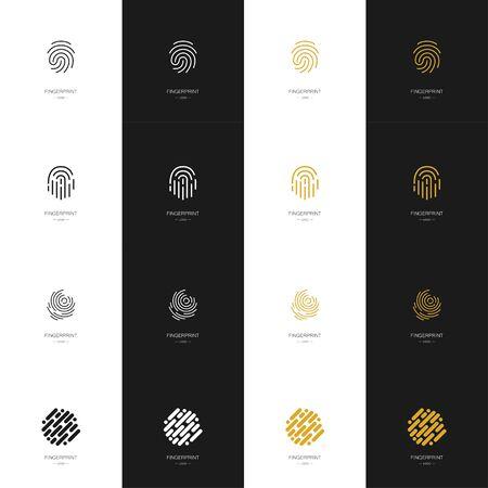 Big set of various fingerprint logos. Collection. Modern style. Vector illustration Çizim