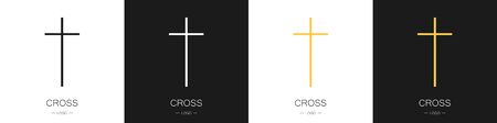 Set of logos of the crosses. Collection. The concept of Christianity and the church. Modern style. Vector illustration