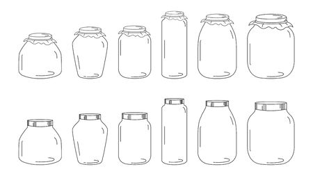 Set of Glass Jars for canning and preserving. Vector Illustration isolated on transparent background. Vector Illustratie