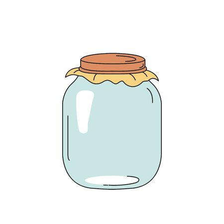 Glass jar for canning and preserving. Vector illustration isolated on a transparent background. Ilustrace