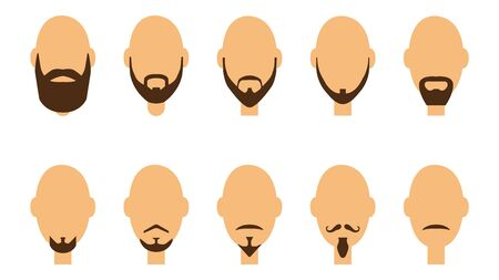 Set of beards and mustaches. Haircut beards. The concept of a hairdresser. Flat style