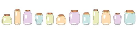 Set of Glass Jars for canning and preserving. Vector Illustration isolated on transparent background. Ilustrace