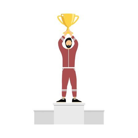 Winner athlete. A man stands on a pedestal with a cup in his hands. Flat style.