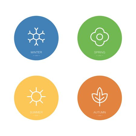 Four seasons icons set. Winter, spring, summer and autumn. Vector illustration