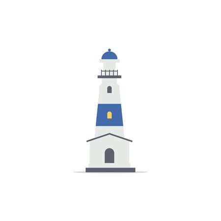 Lighthouse. Lighting path. Flat style. Vector illustration