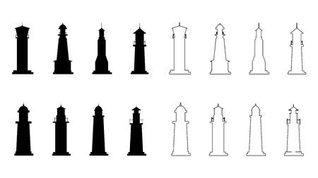 Set of lighthouses. Lighting path. Flat style. Vector illustration Ilustracja