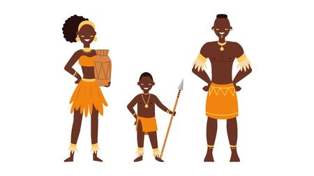 Set of african people. Wild tribes in traditional tribal clothing. People of ethnicity. Flat style. Vector illustration