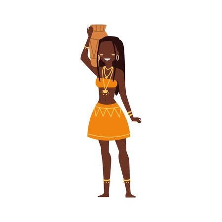 African woman. Wild tribes in traditional tribal clothing. People of ethnicity. Flat style. Vector illustration