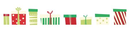 Set of different gift boxes. Flat style. Vector illustration Vectores