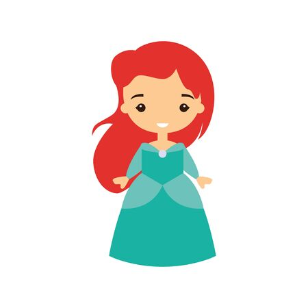 Princess in a beautiful dress. Fairytale character. Lovely young girl. Flat style vector illustration.