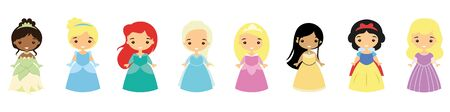 Set of princesses in beautiful dresses. Fairy-tale characters. Lovely young girls. Flat style. Vector illustration