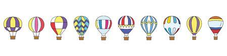 Air Balloons. Set. Flat style. Vector illustration Illustration