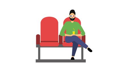 A man sits in a movie theater. The viewer in 3D glasses is watching a movie. Flat style. Vector illustration Stock Illustratie