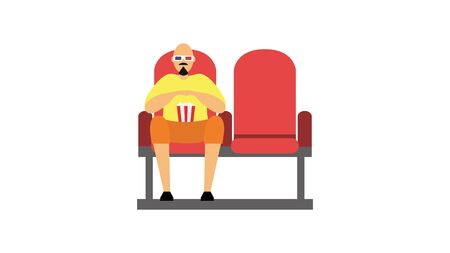 A man sits in a movie theater. The viewer in 3D glasses is watching a movie. Flat style. Vector illustration