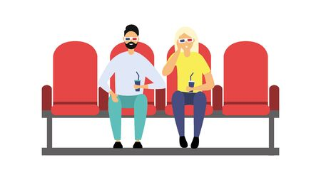 People sitting in the cinema. Spectators in 3D glasses watch a movie. Flat style. Vector illustration