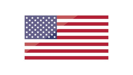 Flag of the United States of America with lens flare. Vector illustration