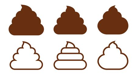 A set of poop. Cartoon excrement. Vector illustration