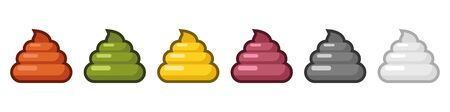 A set of poop in different colors. Cartoon excrement. Vector illustration