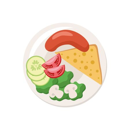 Dish. Food on a plate. Full meal. Vector illustration