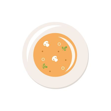Soup. Full meal. Tasty dish. Flat style. Vector illustration