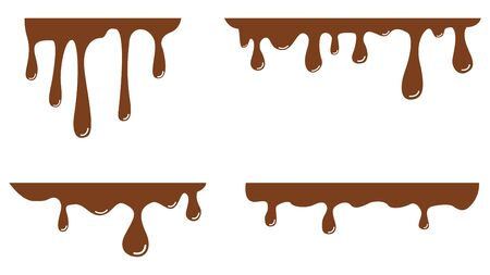 Melted milk chocolate drips. Set. Vector illustration