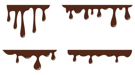 Melted black chocolate is dripping. Set. Vector illustration