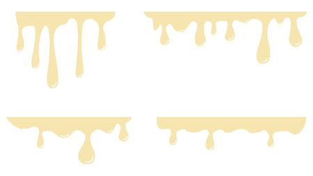 Melted white chocolate drips. Set. Vector illustration