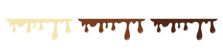 Melted black, white, and milk chocolate drips. Set. Vector illustration