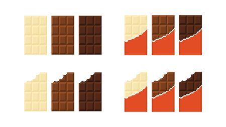 A set of whole and bitten chocolate bars. White, milk and black chocolates. Vector illustration