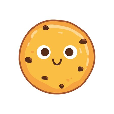 Traditional chocolate chip cookies with a smile and eyes. Vector illustration
