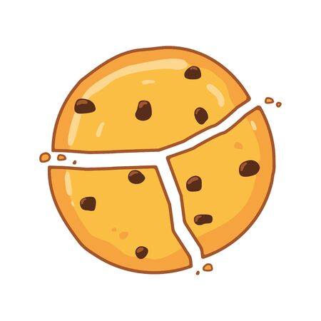 Traditional chocolate chip cookies. Vector illustration Illustration