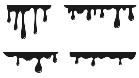 Paint dripping. Dripping liquid. Paint flows. Current paint, stains. Current inks. Vector illustration.