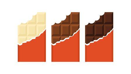 Set of bitten chocolate bars. White, milk and black chocolates. Vector illustration