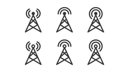 Antenna icons set isolated on white background. Vector illustration