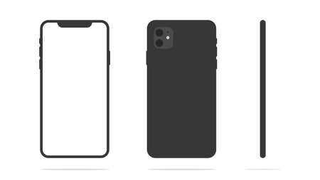 Smartphone mockup with front, back and side panels isolated on white background. Vector illustration