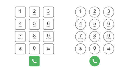 Two types of keyboard on a smartphone. Numeric keypad for phone calls. Vector illustration