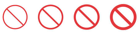 Set of prohibition signs isolated on white background. Restriction marks of different thickness. Vector illustration Vetores