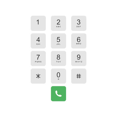 Smartphone keyboard. Numeric keypad for phone calls. Vector illustration Vecteurs