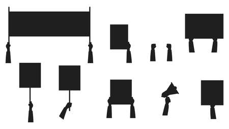 Set of silhouettes of banners for protests. People who went to a demonstration or meeting. The concept of protest, strike or revolution. Vector illustration. Flat style.
