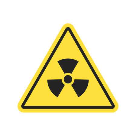 Nuclear sign isolated on white background. Radiation hazard warning. Propeller sign symbolizing radioactive contamination. Vector illustration