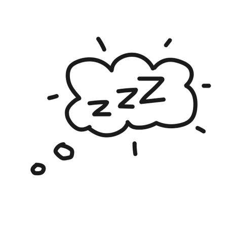 Hand drawn zzz sleep wave in cloud isolated on white background. Vector illustration