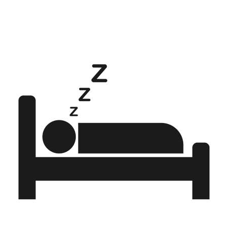 Sleeping person icon with zzz sleep wave. Hotel icon isolated on white background. Vector illustration