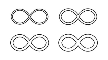 Infinity icons set isolated on white background. Repetitions or unlimited cycling. Vector illustration