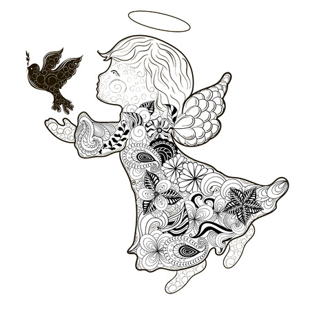 painted image: Illustration Angel was created in doodling style in black and white colors. Painted image is isolated on white background.