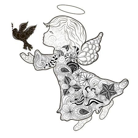 """Illustratie """"Angel"""" is gecreëerd in het tekenen stijl in zwarte en witte kleuren. Geschilderde beeld is geïsoleerd op een witte achtergrond."""