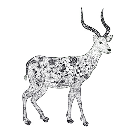 painted image: Illustration Antelope was created in doodling style in black and white colors. Painted image is isolated on white background.