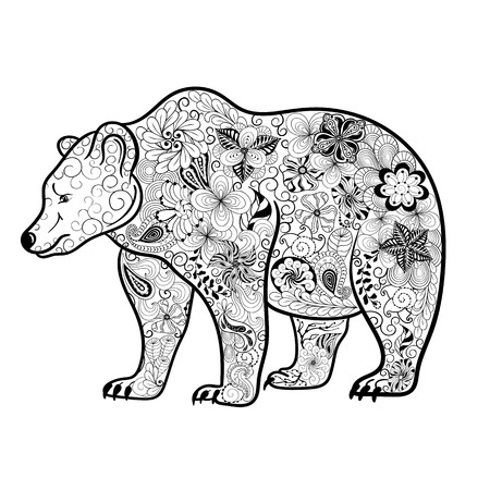 painted image: Illustration Bear was created in doodling style in black and white colors. Painted image is isolated on white background. Illustration