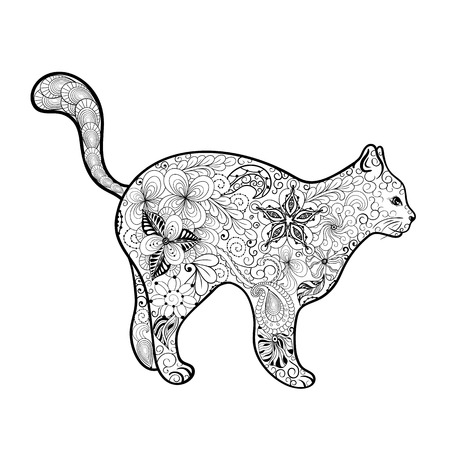 painted image: Illustration Cat was created in doodling style in black and white colors. Painted image is isolated on white background.