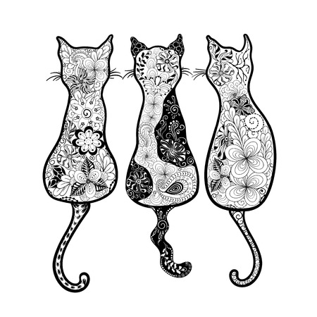 black: Illustration Cats was created in doodling style in black and white colors. Painted image is isolated on white background. It can be used as postcard. Illustration